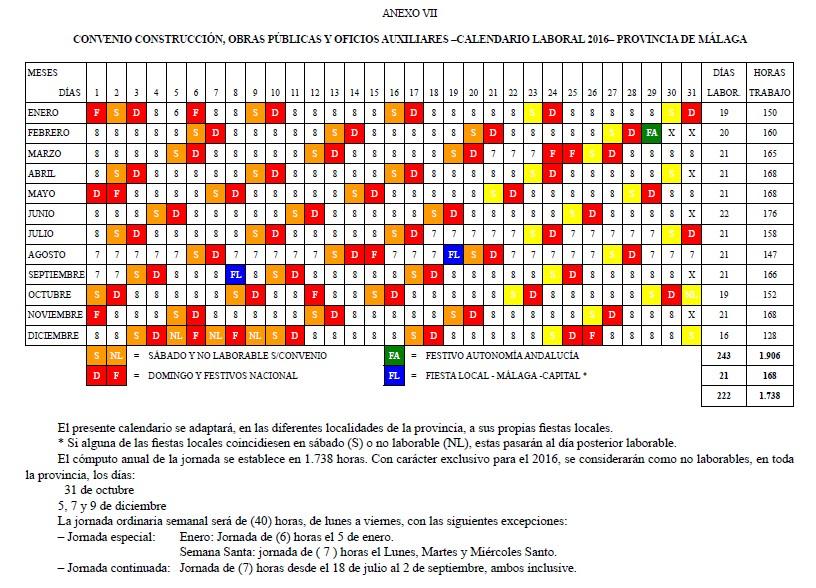 Calendario Laboral De La Construccion.Calendario Laboral Construccion De Malaga Para 2016