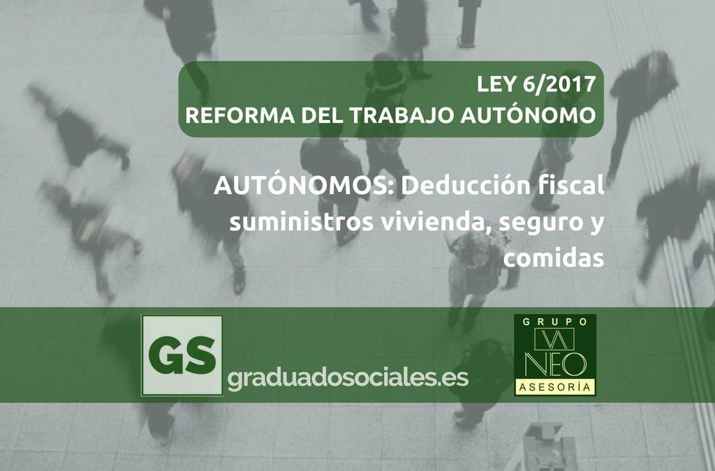 Autónomos: Deducción fiscal de suministros de la vivienda, seguro y comidas en restaurantes