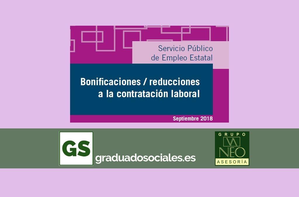 Bonificaciones contratación laboral: SEPTIEMBRE 2018