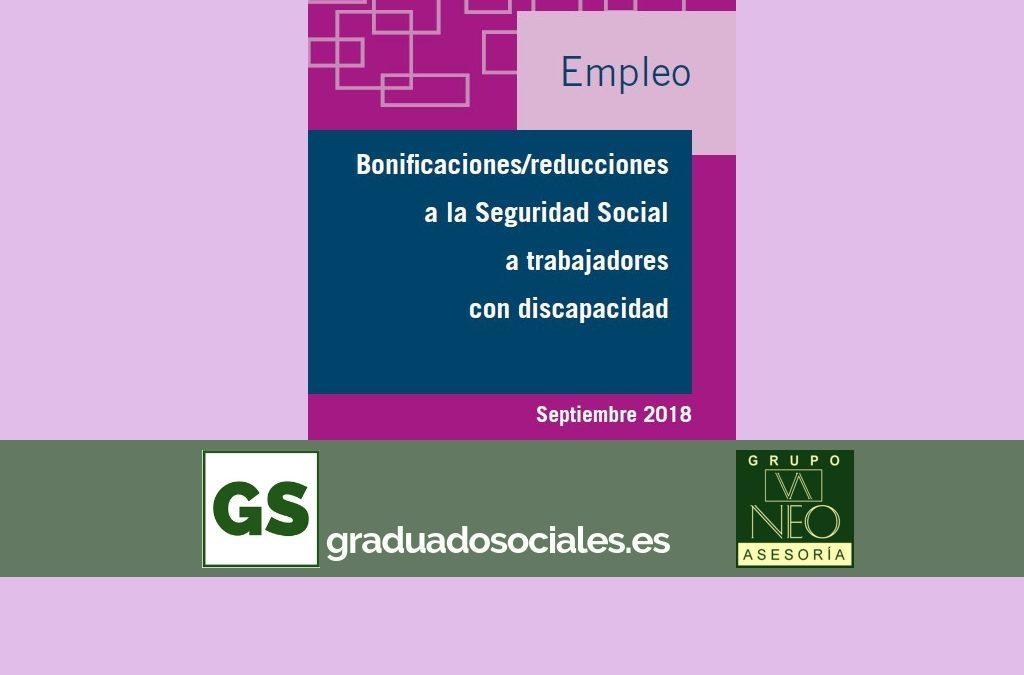 Bonificaciones para trabajadores con discapacidad (septiembre 2018)