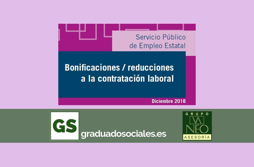 Bonificaciones contratación laboral: DICIEMBRE 2018