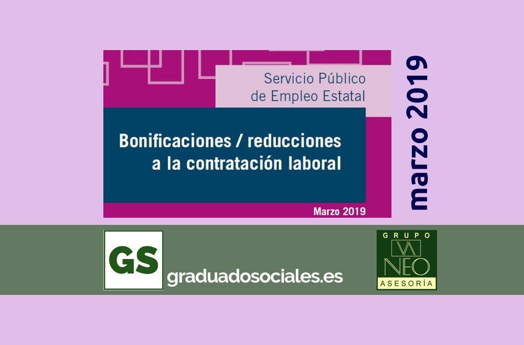Bonificaciones contratación laboral: MARZO 2019