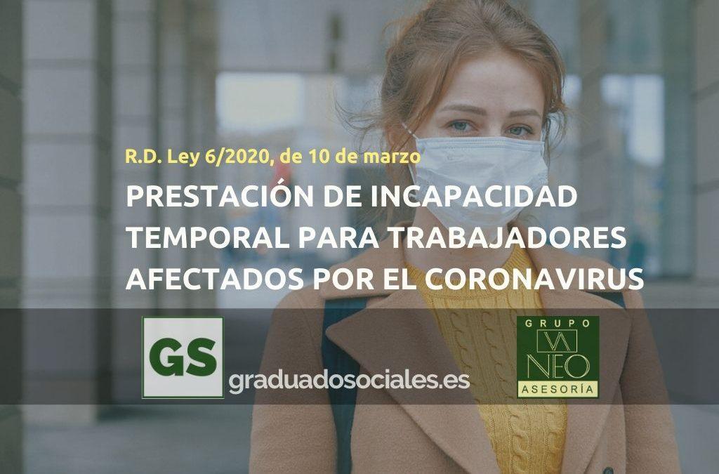 Prestación Incapacidad Temporal para trabajadores afectados por el coronavirus