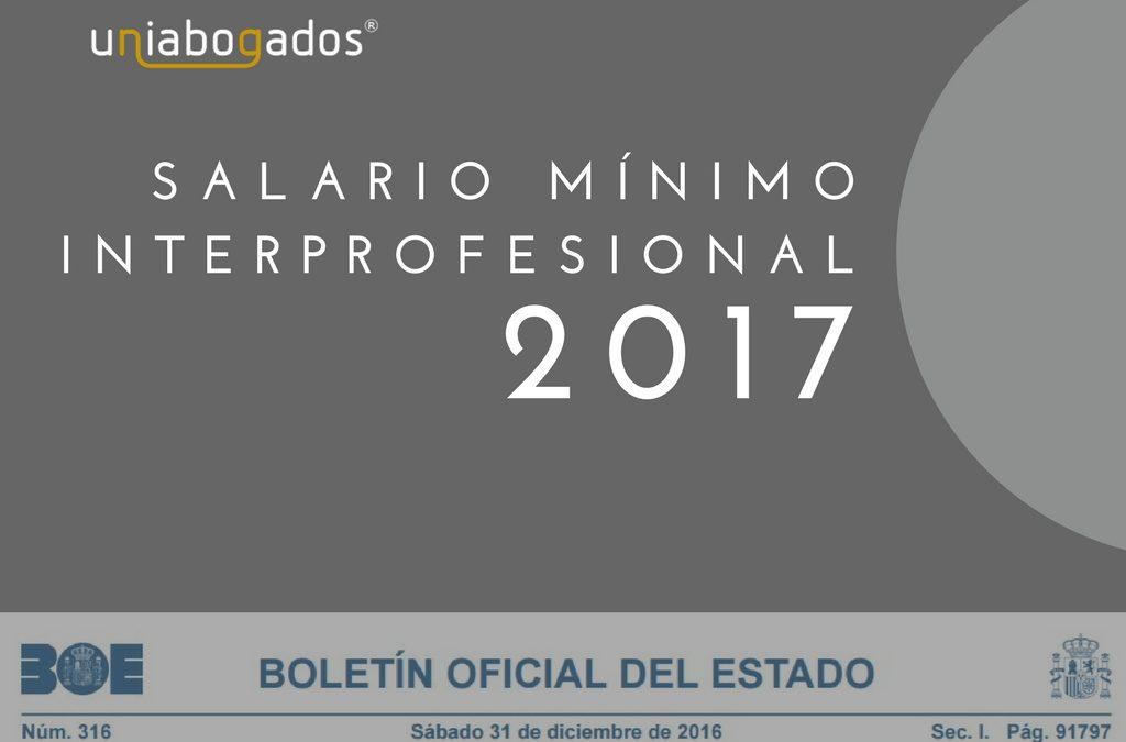 Salario Mínimo Interprofesional (SMI) 2017