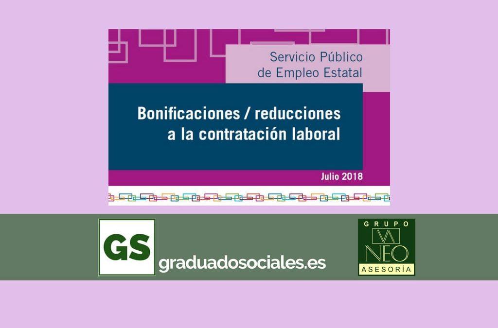 Bonificaciones contratación laboral: JULIO 2018