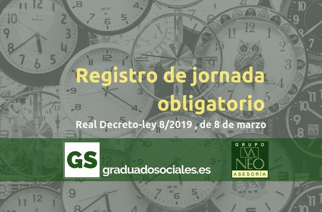 Registro de jornada obligatorio | RDLey 8/2019