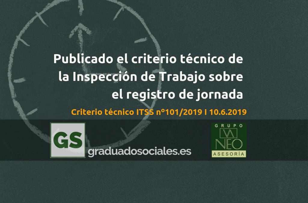 Criterio técnico Inspección de Trabajo sobre registro de jornada (101/2019)